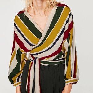 Zara multicolored striped blouse